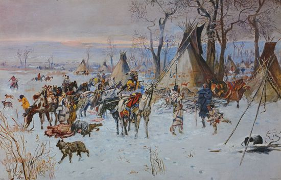 Picture of Indian Hunters' Return (medium) (Charles M. Russell Print)
