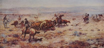Picture of The Roundup (large) (Charles M. Russell Print)