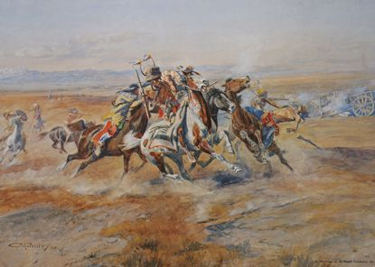 Picture of Attack on the Red River Carts (Charles M. Russell Print)