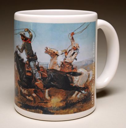 "Picture of Mug - C M Russell's ""O H Cowboys Roping a Steer"""