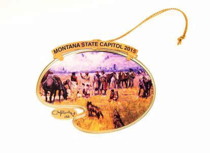 Picture of 2015 Montana State Capitol Ornament - Lewis and Clark Meeting Indians at Ross' Hole