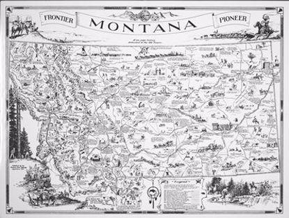 Picture of Map: Montana Highway Dept. Frontier & Pioneer Montana, 1937