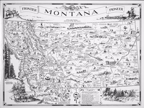 Picture of Map: Montana Highway Dept. Frontier & Pioneer Montana, 1937