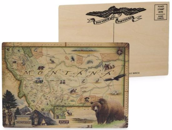 Picture of Montana Map Wooden Postcard