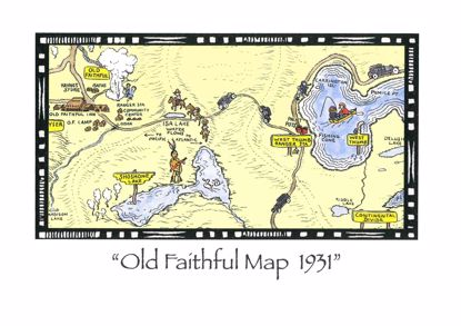 Picture of Notecard - Yellowstone Old Faithful Map by Jo Mora