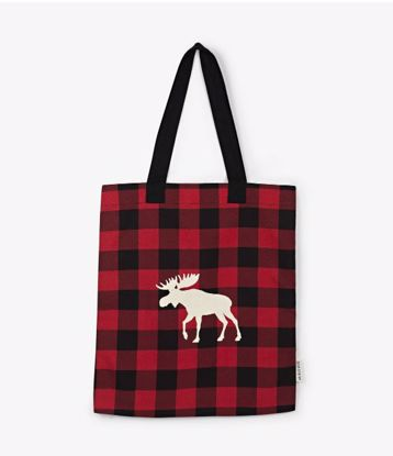 Picture of Tote Bag - Moose on Red Plaid