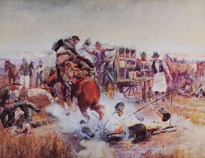 Picture of Bronc to Breakfast (small) (Charles M. Russell Print)