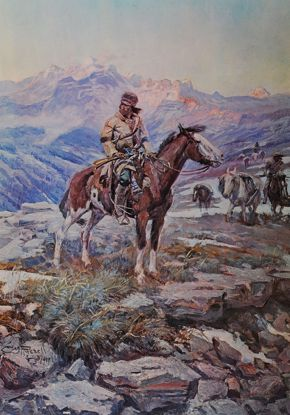 Picture of Free Trapper (small) (Charles M. Russell Print)