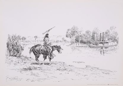 Picture of Report of Custer Massacre (Charles M. Russell Print)