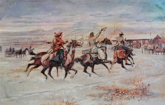 Picture of C M Russell Christmas Cards: Going to A Christmas Ranch Party