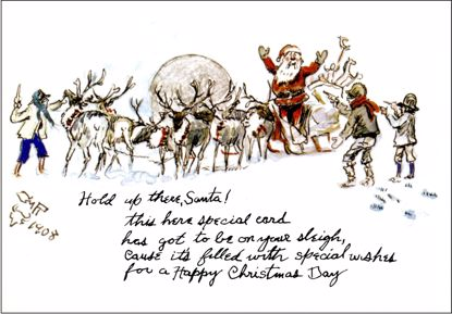 Picture of C M Russell Christmas Cards: Hold Up There Santa