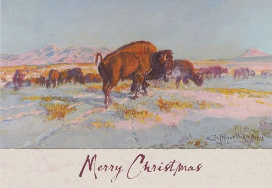 Picture of C M Russell Christmas Cards: Buffalo in Winter