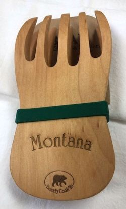 Picture of Wooden Salad Servers - Bear Paw