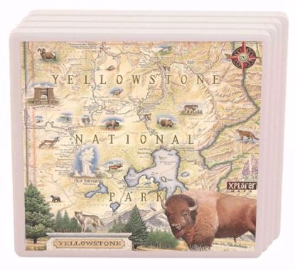 Picture of Yellowstone National Park Map Ceramic Coaster